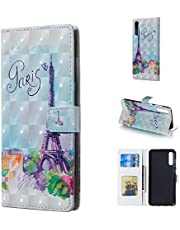 Glitter Wallet Case for Samsung Galaxy A70 and Screen Protector,QFFUN Bling 3D Pattern Design [Tower] Magnetic Stand Leather Phone Case with Card Holder Drop Protection Etui Bumper Flip Cover