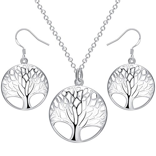 BOHG Jewelry Womens 925 Sterling Silver Plated Tree of Life Disk Pendant Necklace Earrings Wedding Set