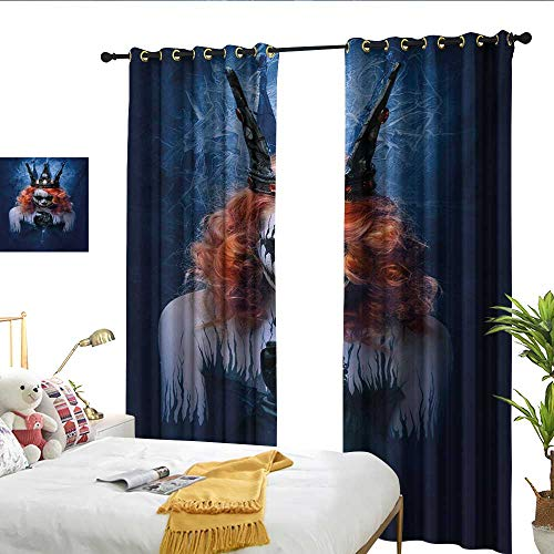 WinfreyDecor Queen Simple Curtain Queen of Death Scary Body Art Halloween Evil Face Bizarre Make Up Zombie Noise Reducing W72 x L96 -