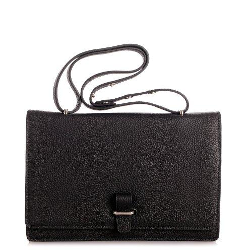 Rouven Noir & Silver ESTELLE 30 Épaule CLASSIC BOX Ladies Bag Ladies sac en cuir sacs à main d'épaule de brevet moderne chic classique (30x21x8)