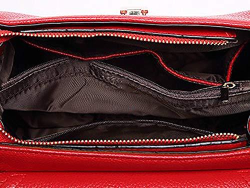 y Shoppers Bolsos de mano hombro Carteras y de clutches Mujer bolsos Burdeos DEERWORD bandolera Z5qRP