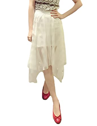 Faldas Mujer Elegantes Transparente Tul Encaje De Malla Falda ...