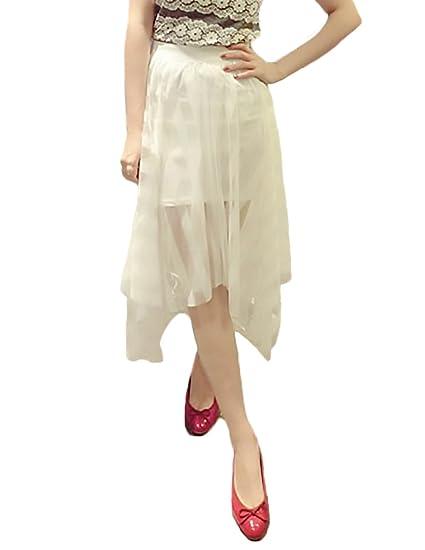 6ca3c3bce Faldas Mujer Elegantes Transparente Tul Encaje De Malla Falda ...