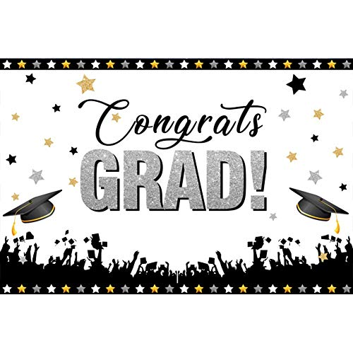 (CSFOTO 6x4ft Graduation Backdrop College Prom Photography Background Graduation Ceremony Decor Banner Congrats Grad Throwing Graduation Cap Stars Students Portrait Photo Studio Props)