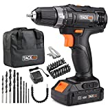 "Tacklife 18V MAX Lithium-Ion 3/8"" Cordless Drill/Driver Kit with 43pcs Accessories,Wear-resistant bag 