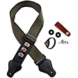 Cotton Wood Guitar Strap Electronic Guitar Strap Plectron Tail Nail Accessories 6 Combination Guitar Strap (green)