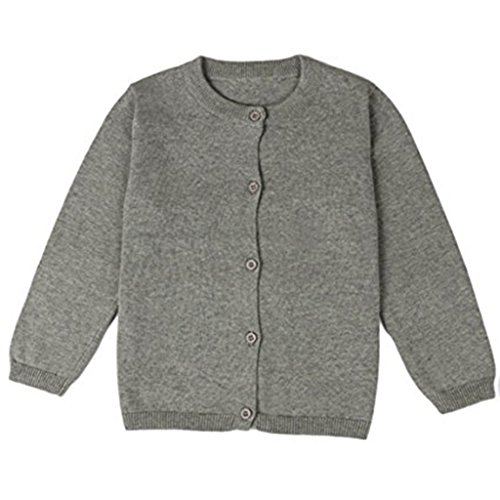 JELEUON Little Girls Cute Crew Neck Button-Down Solid Fine Knit Cardigan Sweaters 18-24 Months Grey