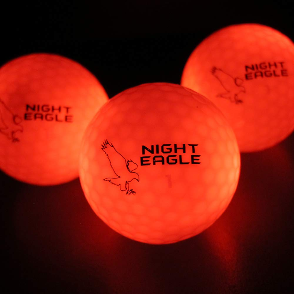 Night Eagle Light Up LED Golf Balls - 6 Ball Pack (Red) by Night Eagle