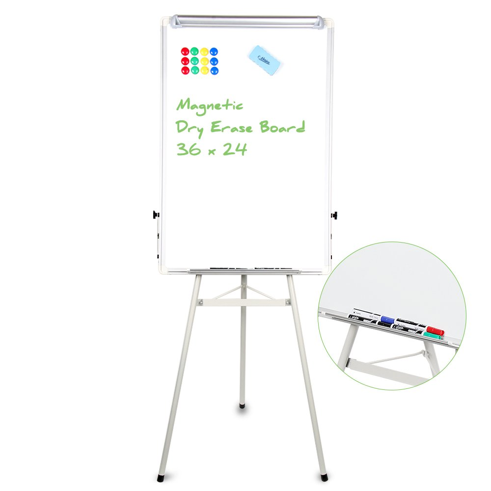 Tripod Whiteboard - 24x36 Inches Magnetic Dry Erase Board / Flipchart Easel With Silver Aluminum Frame, Lightweight White Boards, Height Adjustable Whiteboard(Silver)