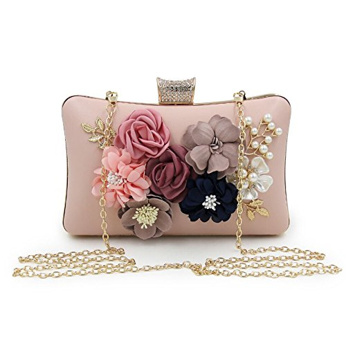 Grade Beaded Bags Pearl Evening Bags Bag Party WUHX Clutch High Dresses Diamonds Dinner Embroidered Flower Luxury Evening Pink Bags Bags 7xvICvqp