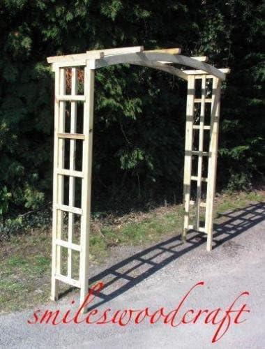 Arco de jardín de madera arco hecho a mano jardín superior redonda: Amazon.es: Jardín