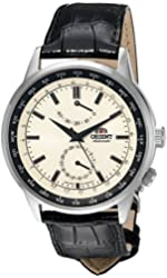 Orient Men's 'Adventurer' Japanese Automatic Stainless Steel and Leather Dress Watch, Color:Black (Model: FFA06003Y0)