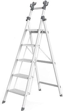 KJZ Estante para libros, colgadores para el hogar Escalera plegable de metal Escalera multifunción de cinco escalones Escalera de cuatro escalones para exteriores (Tamaño : 53 * 91 * 162CM): Amazon.es: Bricolaje y herramientas