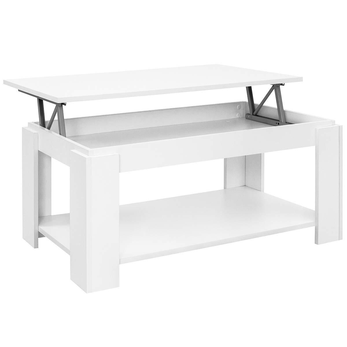 100/x 50/x 43//55/cm con piano sollevabile e portariviste integrato Comifort Tavolino da salotto