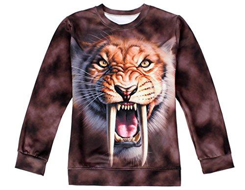 Thenice - Sudadera - Animal Print - Cuello redondo - para mujer Tusk tiger