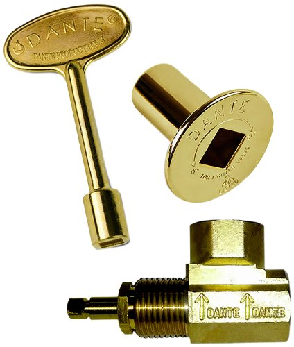 Dante Products Combo Pack with Angled 1/2-inch Globe Valve, Polished Brass Floor Plate and 3-inch Key