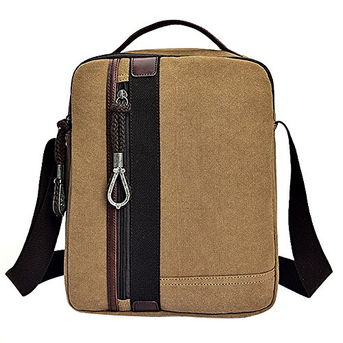 YUEVISUAL Lona Retro Weekender Messenger Bag Para Viajes Crossbody Sports Over Shoulder Bandolera Vintage Casual Casual Cross Body Side Beach Bolsa Brown