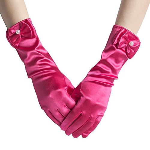 Child Gloves Halloween Accessory (L-Peach Kids Satin Bowknot Formal Gloves Girls Princess Costume Gloves for Bride Party Halloween Cosplay)