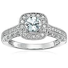 14k White Gold Aquamarine and Diamond Engagement Ring (1/4cttw, I-J Color, I2-I3 Clarity)