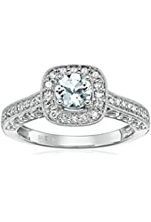 14k White Gold Aquamarine and Diamond Ring (1/4 cttw, H-I Color, I2-I3 Clarity)
