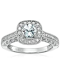 14k White Gold Aquamarine and Diamond Engagement Ring (1/4cttw, I-J Color, I2-I3 Clarity)