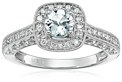 14k White Gold Aquamarine and Diamond Ring (1/4 cttw, H I Color, I2 I3 Clarity)