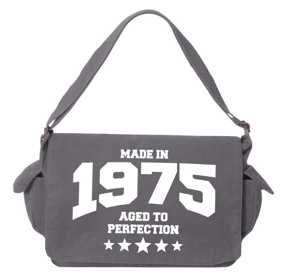 Tenacitee Athletic Aged to Perfection 1975 Grey Brushed Canvas Messenger Bag
