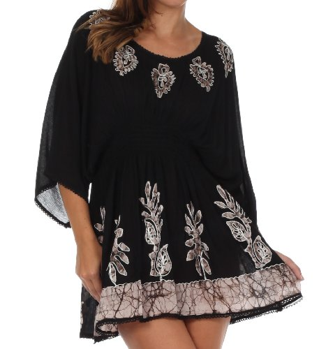 Sakkas 982 Embroidered Batik Gauzy Cotton Tunic Blouse - Black/White - One Size
