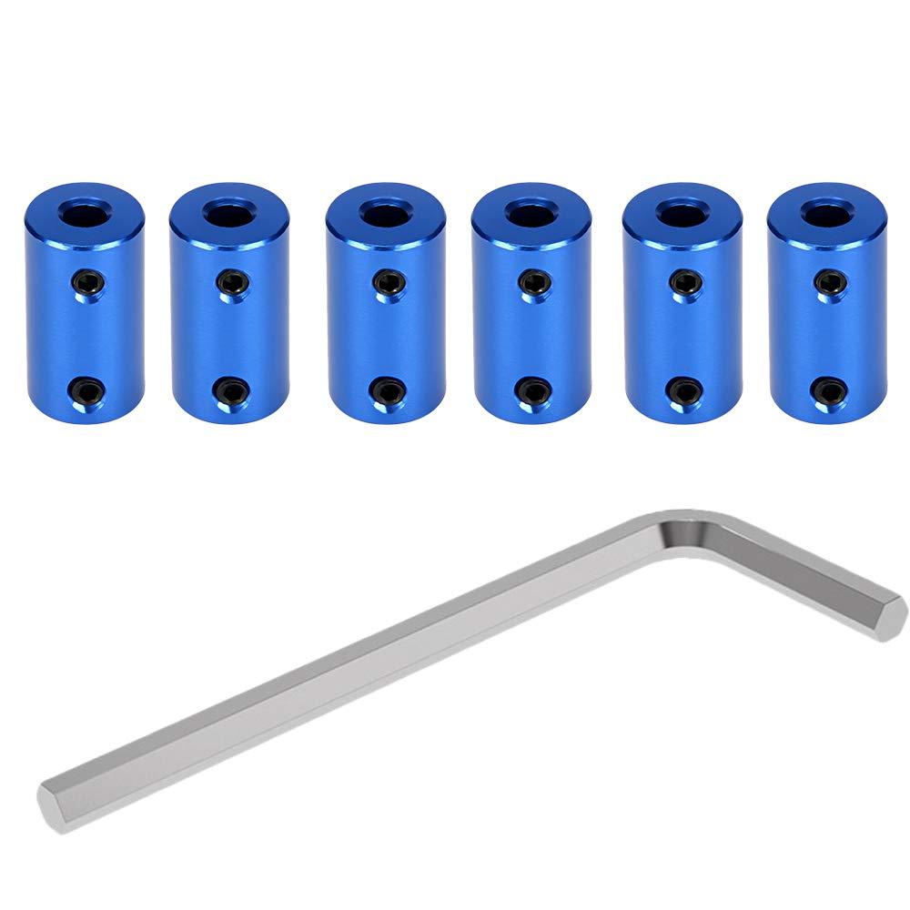 Gwolf Flexible Shaft Couplings 6pcs 3d Printer Coupling 5mm to 8mm Couplings Stepper Motor Shaft Coupler with 2mm Allen Wrench Aluminum Alloy Joint Connector for 3D Printer CNC Machine Blue