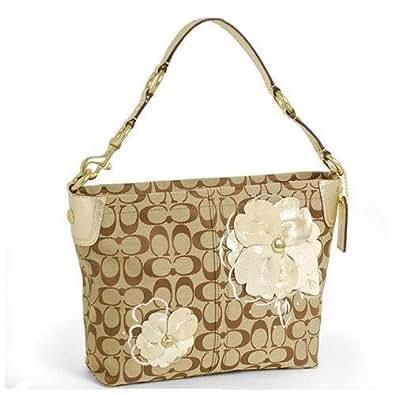 Amazon.com Coach 16879 Signature Bleecker Carly Flower Floral Hobo Purse Bag Khaki Gold Shoes