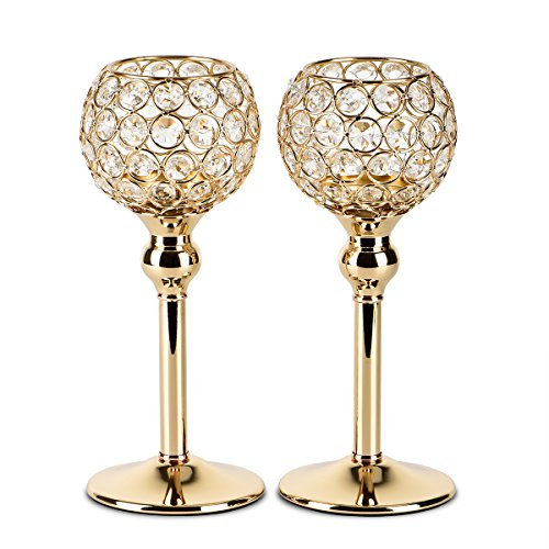 Round Candle Holder (Autai 2pcs Gold Crystal Candle Holder for Wedding Centerpieces Candlesticks Birthday Party Dining Table Candlelight Home Decoration)