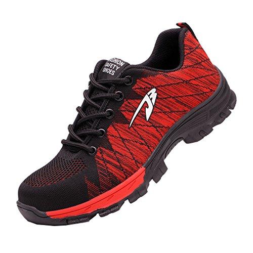 Calzado Roja Pareja de Trabajo de Transpirables Calzado Calzado Deportivo Mujer Unisex Zapatos Hombres Zapatos de Zapatos Seguridad Zapatos zEwWU