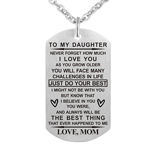 (Dad Mom To My Son Daughter Just Do Your Best Stainless Steel Dog Tag Military Air Force Pendant Necklace for Birthday Graduation (mom to daughter))