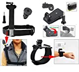 Neomark® 3-in-1 Accessories Kit For Sony Action Cam HDR-AS15/AS20/AS30V/AS100/Sony Action Cam HDR-AZ1 Mini Cameras Wrist Strap Band Mount + Adjustable Shoulder Strap Mount With 1/4 Inch Adapter and Long Screw + 360' Rotary Backpack Hat Rec-Mounts Clip Fast Clamp Mount