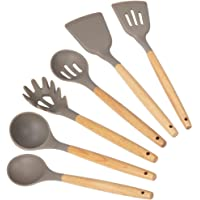 mDesign Kitchen Utensil Set - Includes Spatula/Turner, Serving/Mixing Spoon, Slotted Spoon Slotted Spatula, Ladle, Pasta…