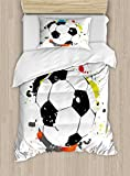 Lunarable Boy's Room Duvet Cover Set Twin Size, Abstract Grunge Soccer Ball in Rainbow Colors Game Hobby Activity, Decorative 2 Piece Bedding Set with 1 Pillow Sham, Black White Multicolor