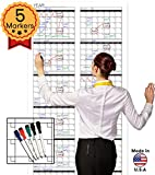 Large Oversized Yearly Wall Calendar - 72' x 36' - Dry Erase Blank Reusable Annual Planner - Academic Year Office Project Schedule 12 Month Calendar Poster - Laminated Monthly Jumbo Undated 2017-2018