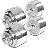 Pair of Adjustable Chrome Dumbbells Weight 105 lb Total Weight