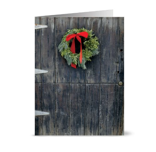 *Rustic Wreath - 36 Holiday Cards - Blank Cards - Red Envelopes Included
