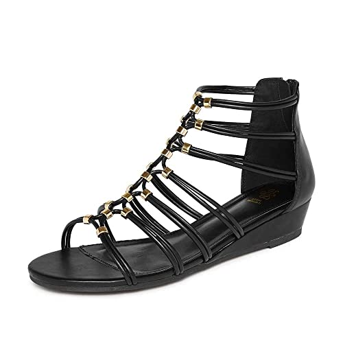 8adcf95d6b3 tresmode Women s Black Wedge Heel and Golden beeds Gladiator Sandals  Buy  Online at Low Prices in India - Amazon.in
