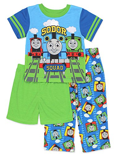 Thomas the Train & Friends Boys 3 piece Shorts Pajamas Set (2T, Blue/Green)