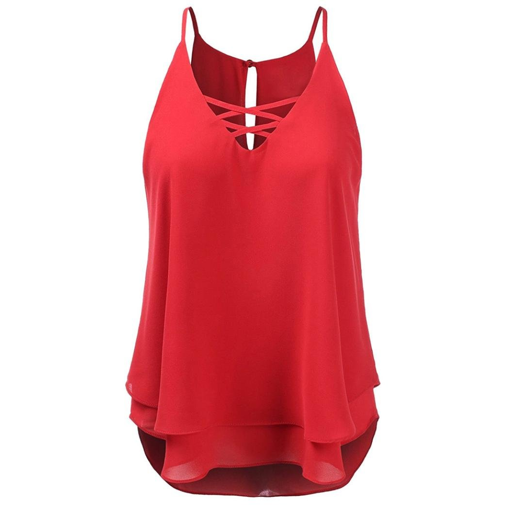 Coromose Women Summer Beach Cross Vest Top Sleeveless Blouse Casual Loose T-Shirt Coromose 1569