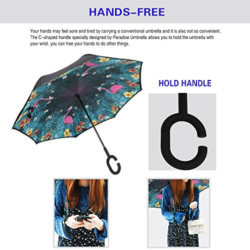 Spar. Saa Double Layer Inverted Umbrella with C-Shaped Handle, Anti-UV Waterproof Windproof Straight Umbrella for Car Rain Outdoor Use (Pink Flamingos) by Spar.saa (Image #2)