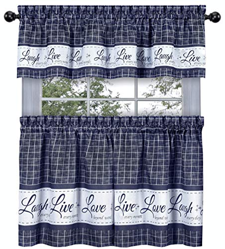 (GoodGram Country Gingham Check Live~Laugh~Love 3 Pc. Café Plaid Kitchen Curtain Set - Assorted Colors & Sizes (Navy, 36 in.)