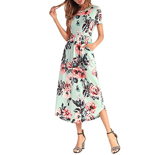 Dresses Sleeve Women's Shirt Floral Midi Green Short Casual Pleated Pocket T With Dress 5qqPfxwT