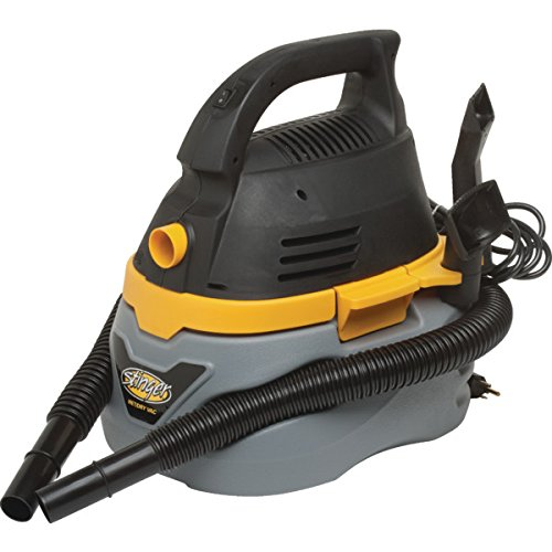 Stinger 2.5 Gallon Wet/Dry Vacuum 1.75 HP, 3.4 Amp Emerson Motor – Converts Into A Blower To Clear Debris – Dent Resistant Plastic Tank – 10′ Power Cord 4′ Hose With Wide Crevice Tool And Utility Nozzle Filter Included (Shop Tool)