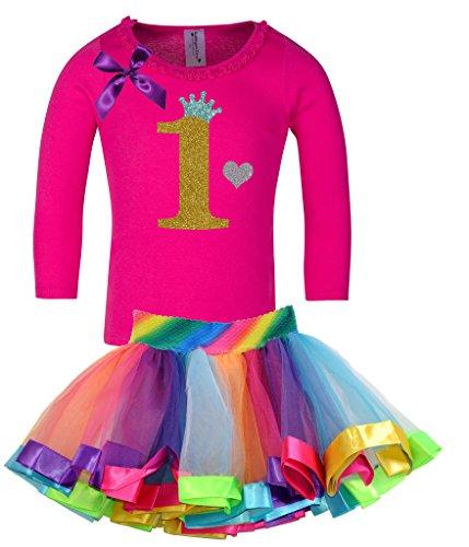 Bubblegum Divas Baby Girls' 1st Birthday Rainbow Gold Long Sleeve Tutu Outfit (Glitter Bubble Dress)