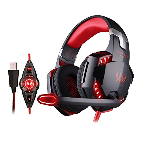 Stanford Shop Each Gaming Headset High Sound Quality Enclosed Volume Adjustable Headphone with Mic/LED Lights for PC Gaming Wired Head Band, Soft Leather, Black Red - Shops Stanford