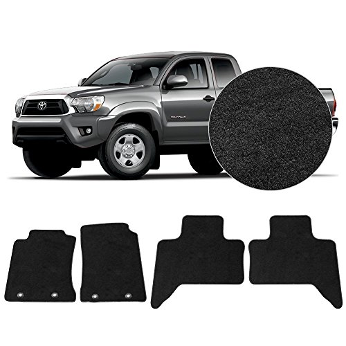 FloorMats Carpet Fits 2011-2014 Toyota Tacoma Xtra Cab Front Rear Black Nylon Mats 4 Pieces Set