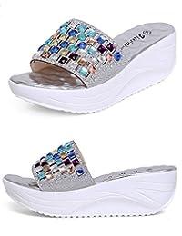 Doris Fashion wm-9999-2 Women's Smart Flat Shoes Rhinestone Wedges Sandals